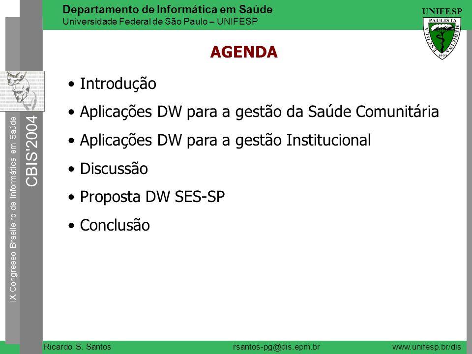 AGENDA Introdução. Aplicações DW para a gestão da Saúde Comunitária. Aplicações DW para a gestão Institucional.