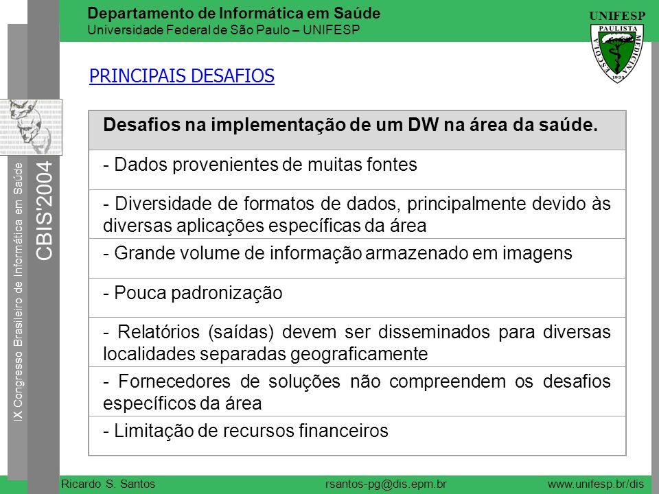 PRINCIPAIS DESAFIOS Desafios na implementação de um DW na área da saúde. - Dados provenientes de muitas fontes.