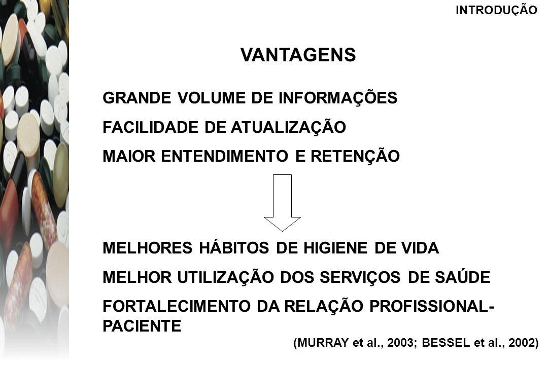 VANTAGENS GRANDE VOLUME DE INFORMAÇÕES FACILIDADE DE ATUALIZAÇÃO