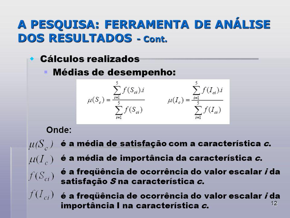 A PESQUISA: FERRAMENTA DE ANÁLISE DOS RESULTADOS - Cont.