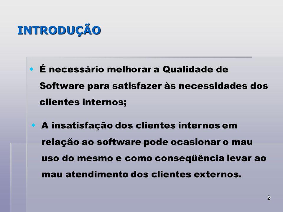 INTRODUÇÃO É necessário melhorar a Qualidade de Software para satisfazer às necessidades dos clientes internos;