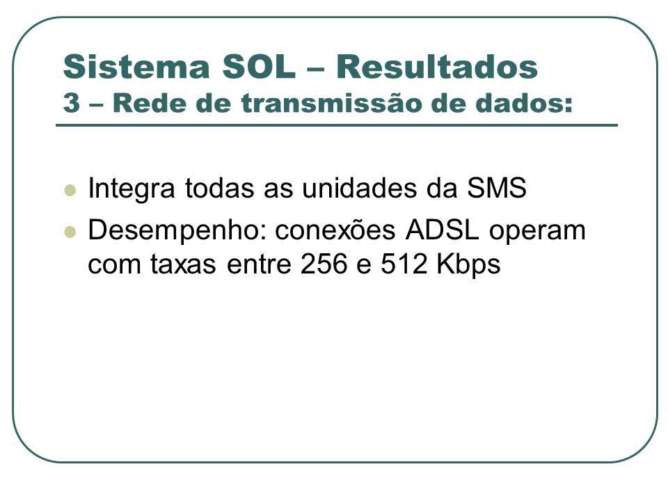 Sistema SOL – Resultados 3 – Rede de transmissão de dados: