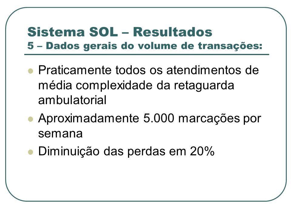 Sistema SOL – Resultados 5 – Dados gerais do volume de transações: