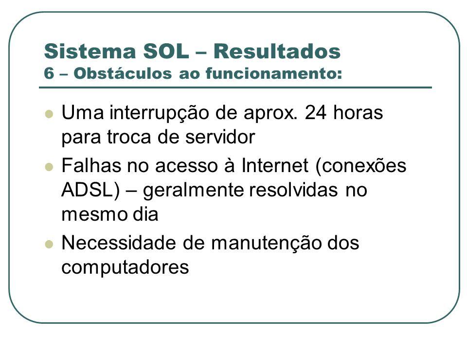Sistema SOL – Resultados 6 – Obstáculos ao funcionamento: