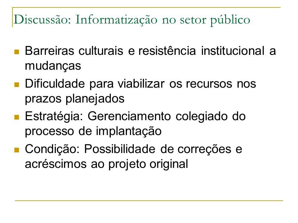 Discussão: Informatização no setor público