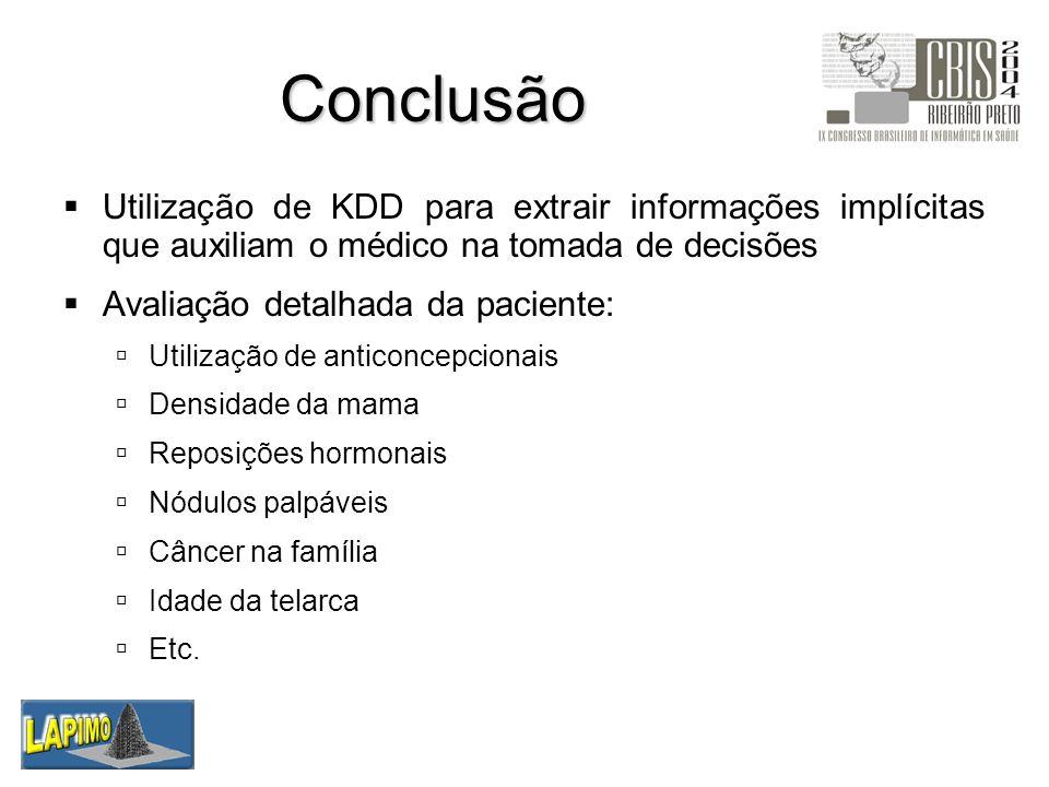 Conclusão Utilização de KDD para extrair informações implícitas que auxiliam o médico na tomada de decisões.