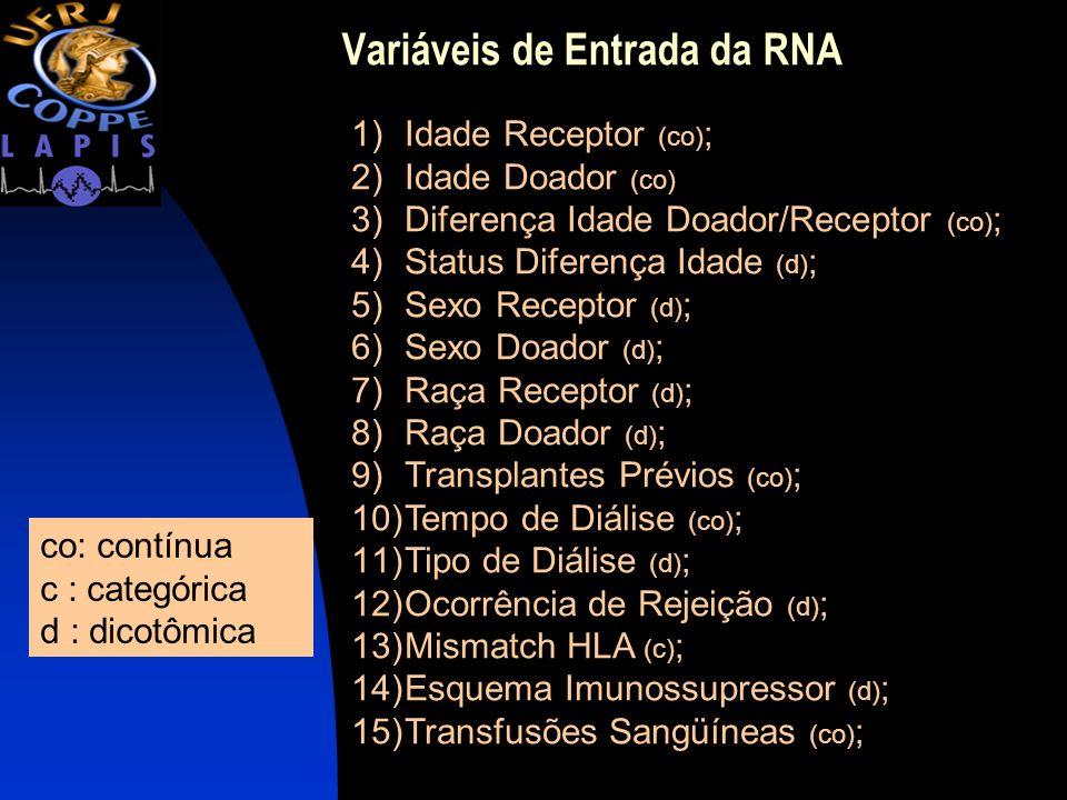 Variáveis de Entrada da RNA