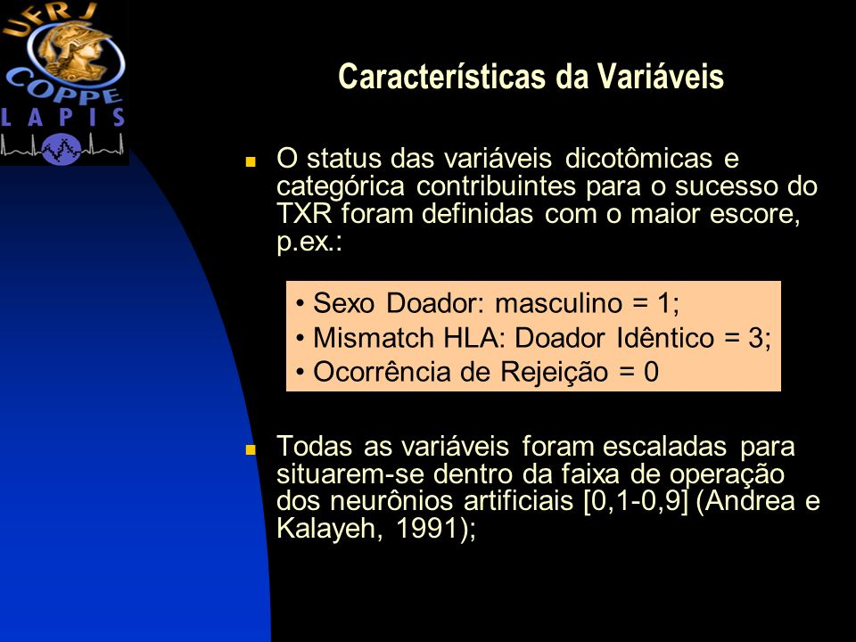 Características da Variáveis