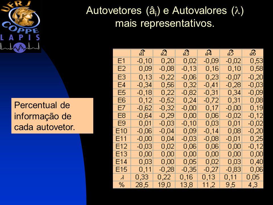 Autovetores (âi) e Autovalores () mais representativos.