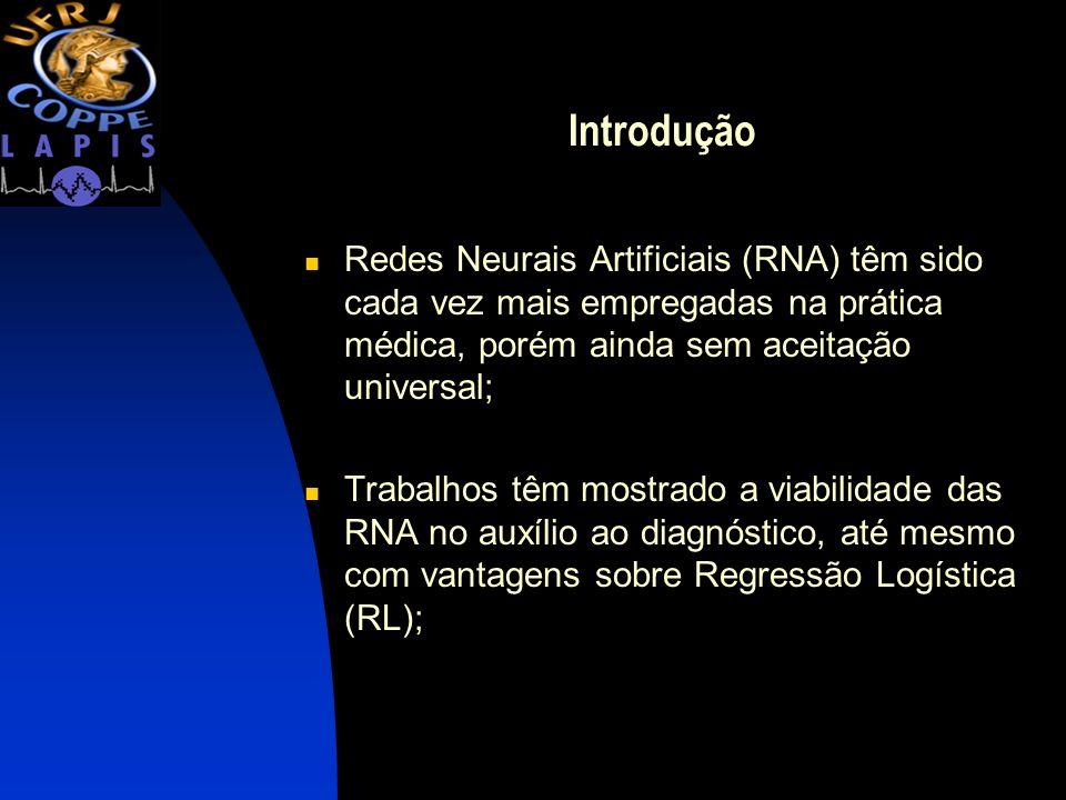 Introdução Redes Neurais Artificiais (RNA) têm sido cada vez mais empregadas na prática médica, porém ainda sem aceitação universal;