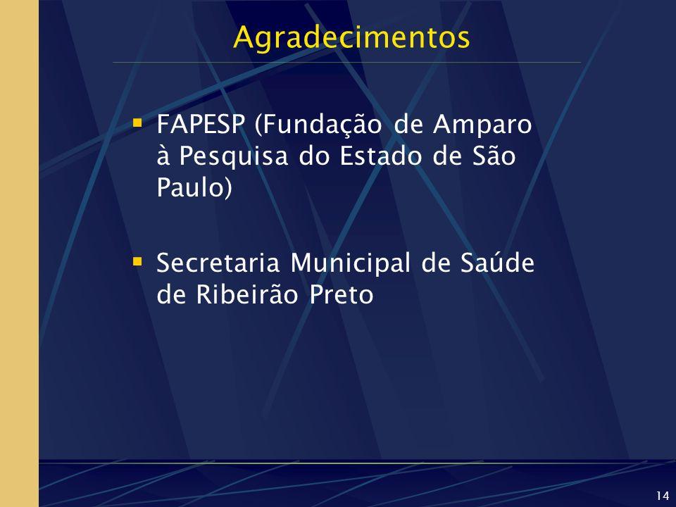 Agradecimentos FAPESP (Fundação de Amparo à Pesquisa do Estado de São Paulo) Secretaria Municipal de Saúde de Ribeirão Preto.