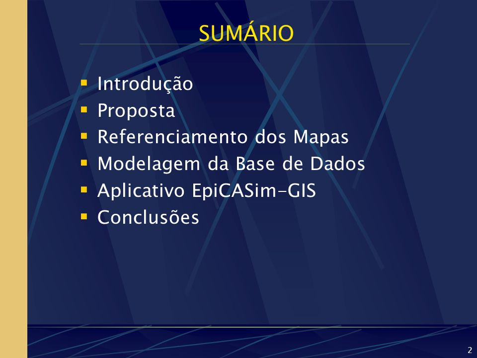 SUMÁRIO Introdução Proposta Referenciamento dos Mapas