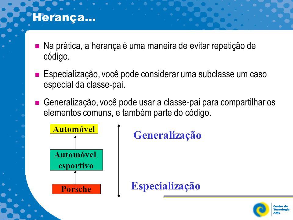 Herança... Generalização Especialização
