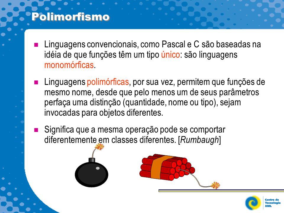 Polimorfismo Linguagens convencionais, como Pascal e C são baseadas na idéia de que funções têm um tipo único: são linguagens monomórficas.
