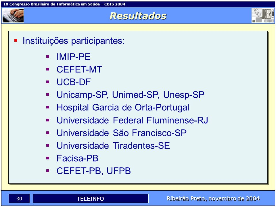 Resultados Instituições participantes: IMIP-PE. CEFET-MT. UCB-DF. Unicamp-SP, Unimed-SP, Unesp-SP.