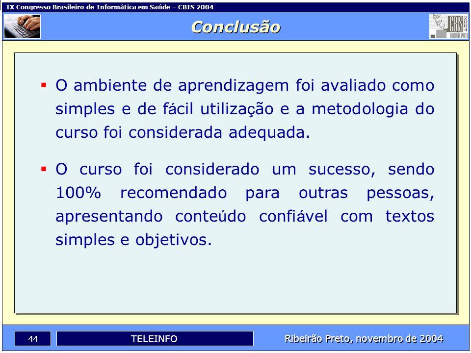 Conclusão O ambiente de aprendizagem foi avaliado como simples e de fácil utilização e a metodologia do curso foi considerada adequada.