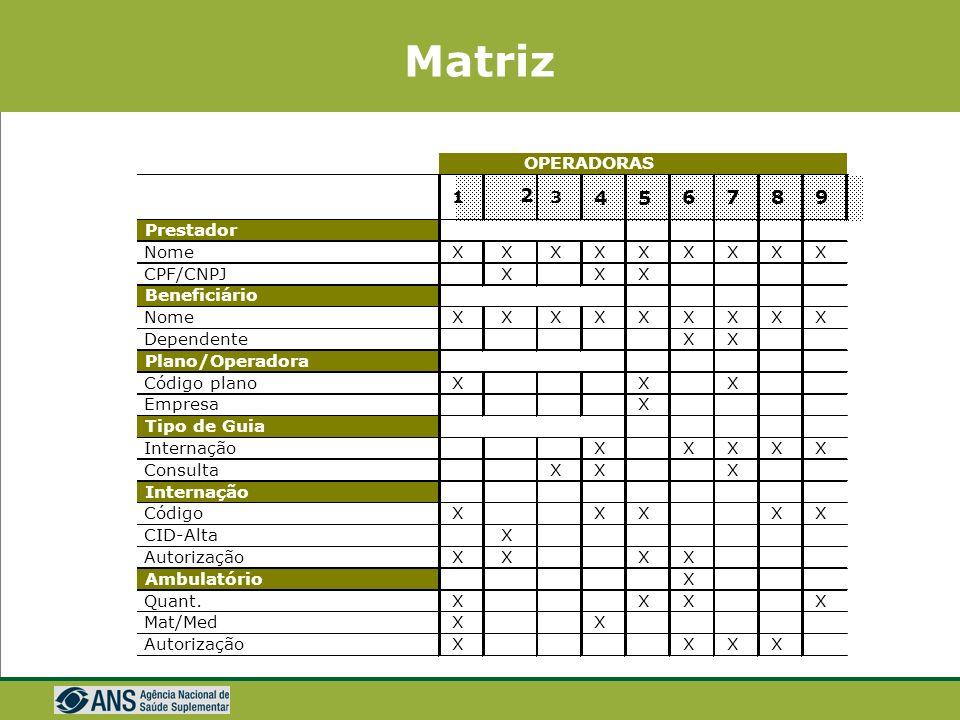 Matriz 2 4 5 6 7 8 9 OPERADORAS 1 3 Prestador Nome X X X X X X X X X