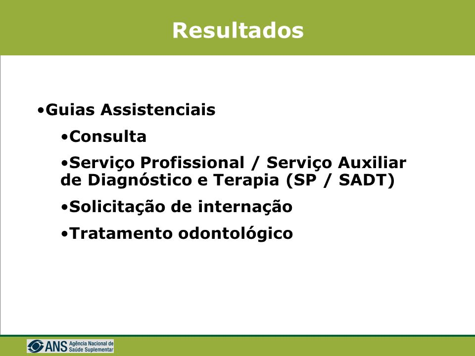 Resultados Guias Assistenciais Consulta