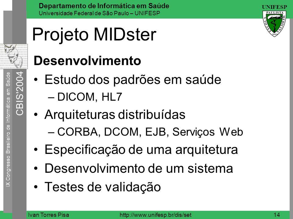 Projeto MIDster Desenvolvimento Estudo dos padrões em saúde