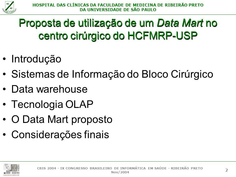 Sistemas de Informação do Bloco Cirúrgico Data warehouse