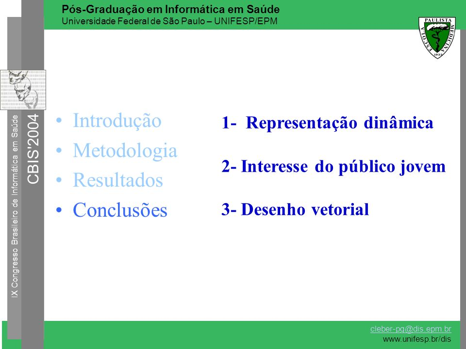Introdução Metodologia Resultados Conclusões 1- Representação dinâmica