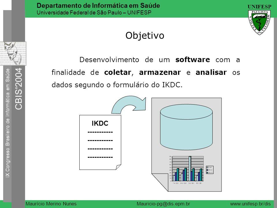 Objetivo Desenvolvimento de um software com a finalidade de coletar, armazenar e analisar os dados segundo o formulário do IKDC.