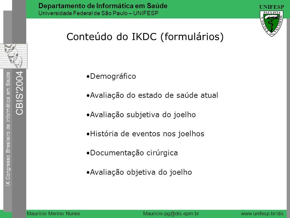 Conteúdo do IKDC (formulários)