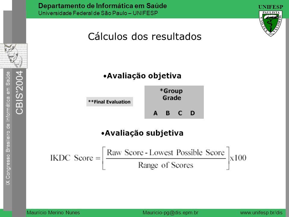 Cálculos dos resultados
