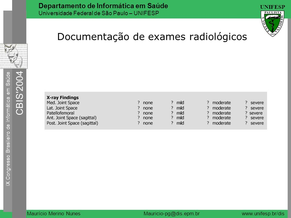 Documentação de exames radiológicos