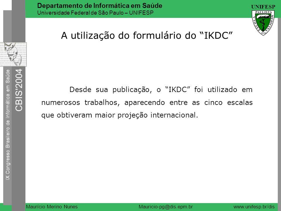 A utilização do formulário do IKDC