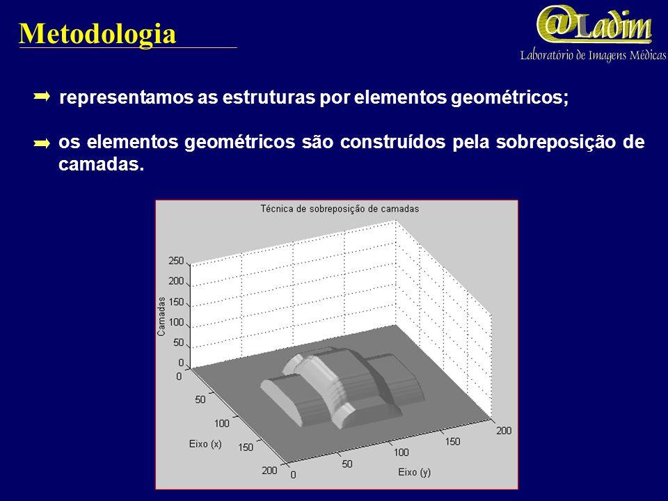 Metodologia representamos as estruturas por elementos geométricos;