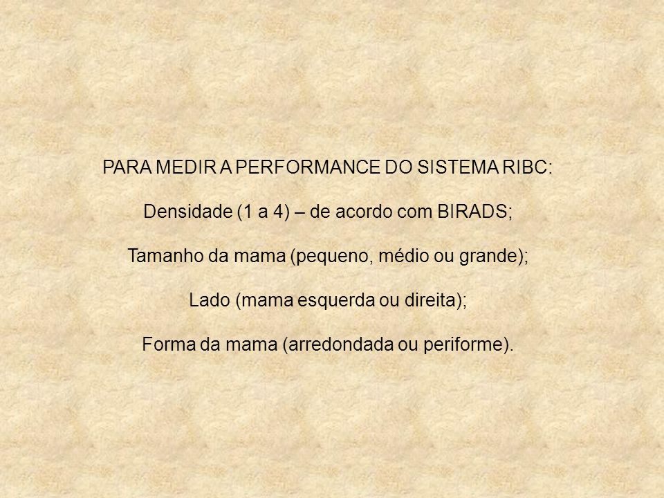 PARA MEDIR A PERFORMANCE DO SISTEMA RIBC: