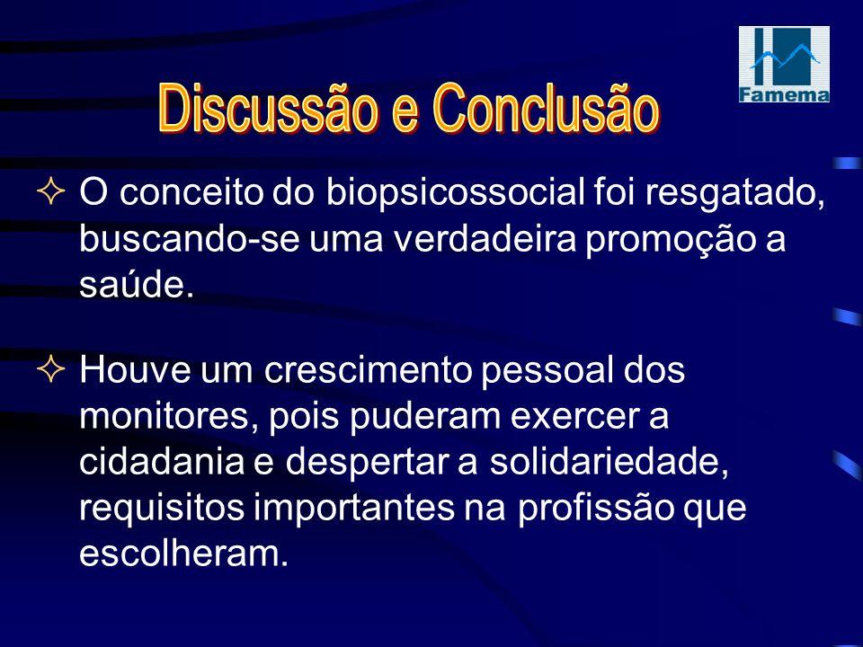 Discussão e Conclusão O conceito do biopsicossocial foi resgatado, buscando-se uma verdadeira promoção a saúde.