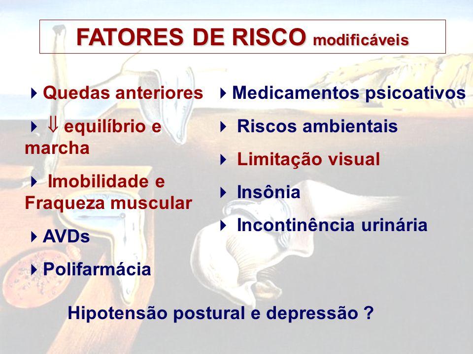 FATORES DE RISCO modificáveis Hipotensão postural e depressão