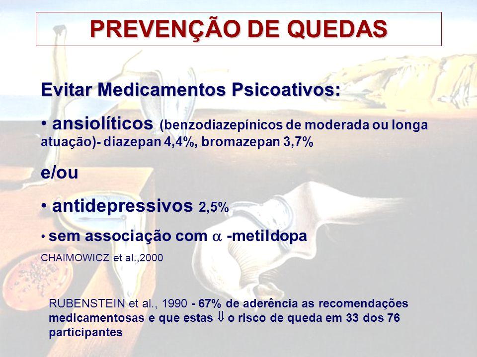 PREVENÇÃO DE QUEDAS Evitar Medicamentos Psicoativos: