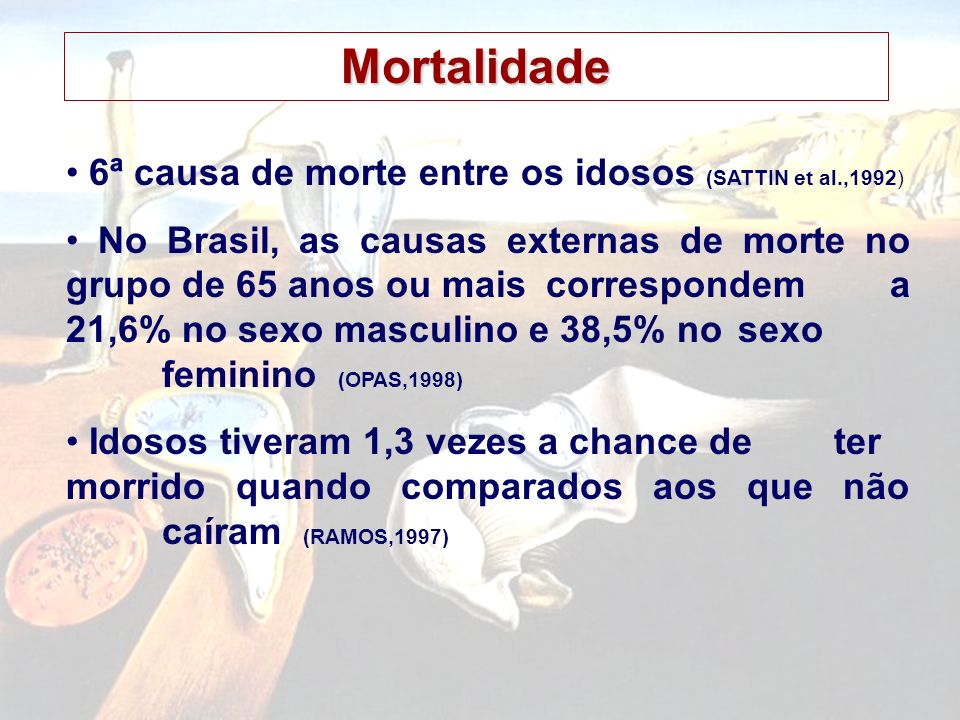 Mortalidade • 6ª causa de morte entre os idosos (SATTIN et al.,1992)