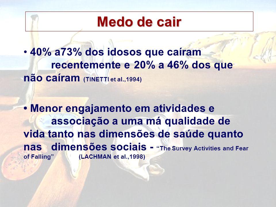Medo de cair • 40% a73% dos idosos que caíram recentemente e 20% a 46% dos que não caíram (TINETTI et al.,1994)