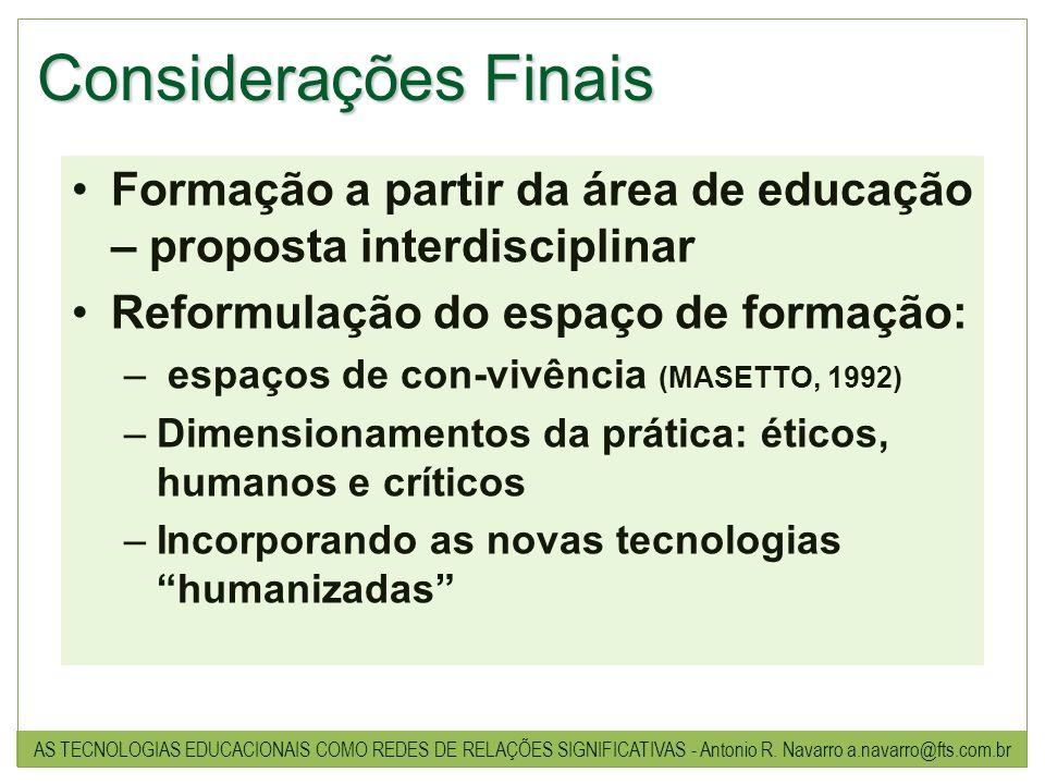 Considerações Finais Formação a partir da área de educação – proposta interdisciplinar. Reformulação do espaço de formação:
