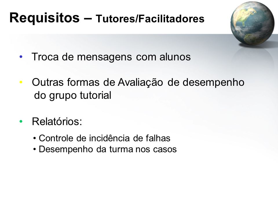Requisitos – Tutores/Facilitadores