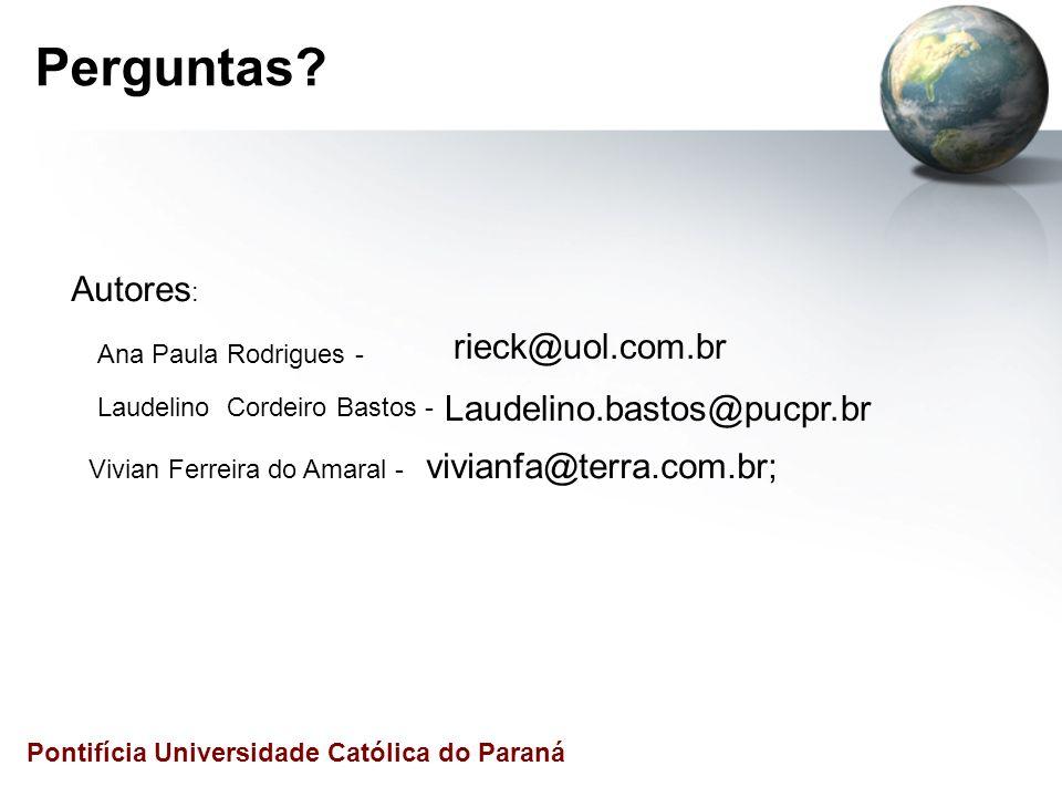 Perguntas Autores: rieck@uol.com.br Laudelino.bastos@pucpr.br