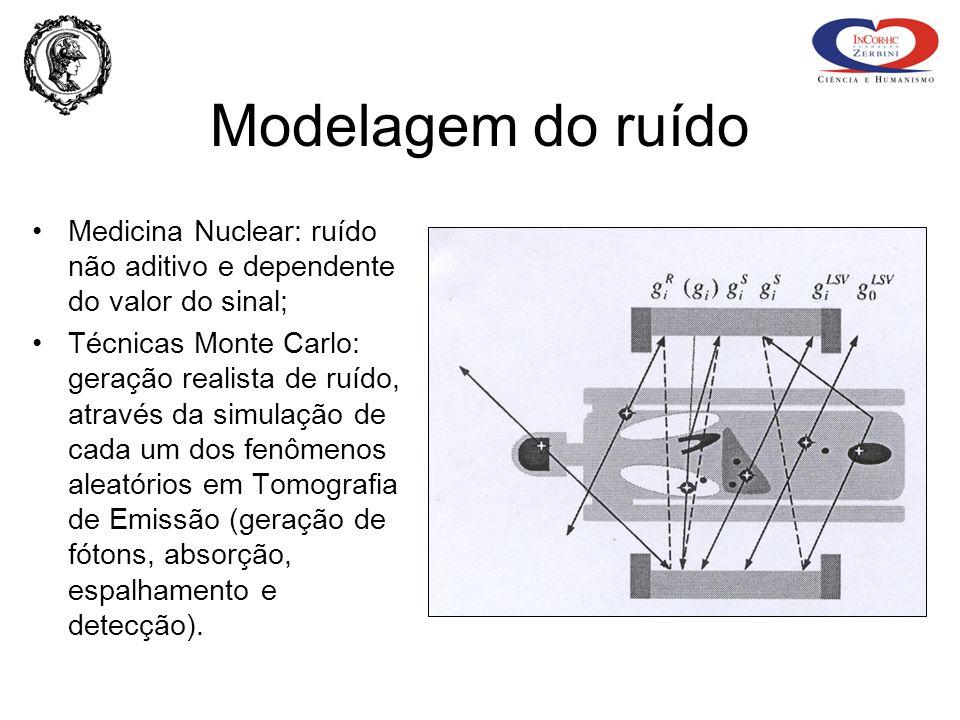 Modelagem do ruído Medicina Nuclear: ruído não aditivo e dependente do valor do sinal;