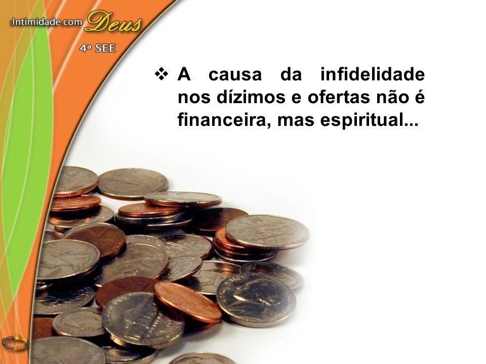 A causa da infidelidade nos dízimos e ofertas não é financeira, mas espiritual...