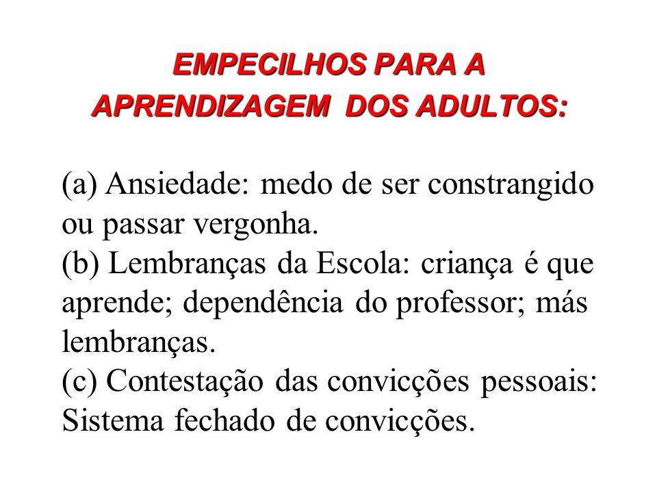 APRENDIZAGEM DOS ADULTOS: