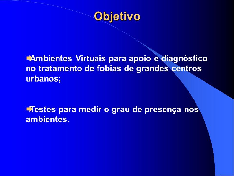 ObjetivoAmbientes Virtuais para apoio e diagnóstico no tratamento de fobias de grandes centros urbanos;