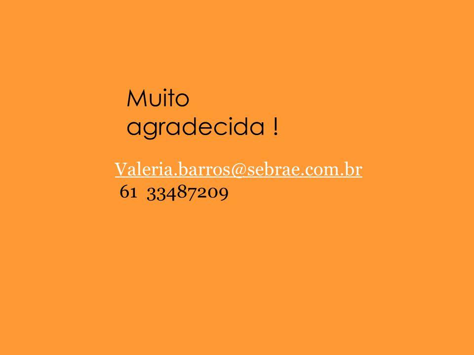 Muito agradecida ! Valeria.barros@sebrae.com.br 61 33487209