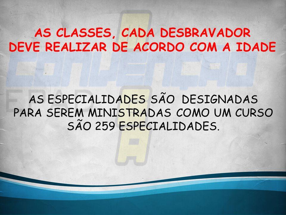 AS CLASSES, CADA DESBRAVADOR DEVE REALIZAR DE ACORDO COM A IDADE