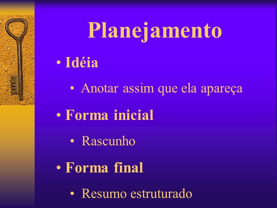 Planejamento Idéia Forma inicial Forma final