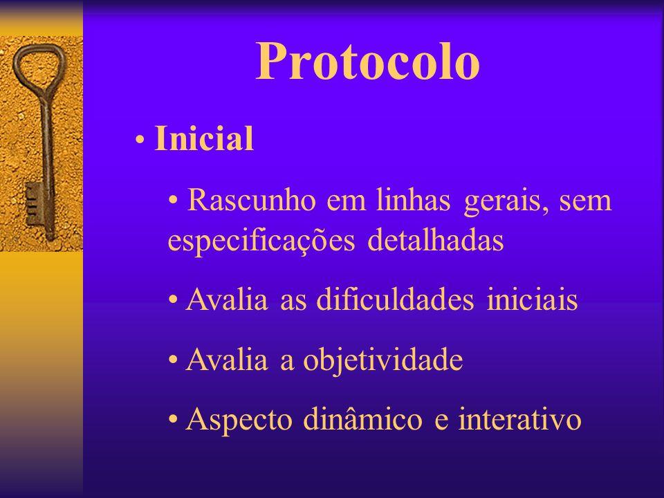 Protocolo Inicial. Rascunho em linhas gerais, sem especificações detalhadas. Avalia as dificuldades iniciais.