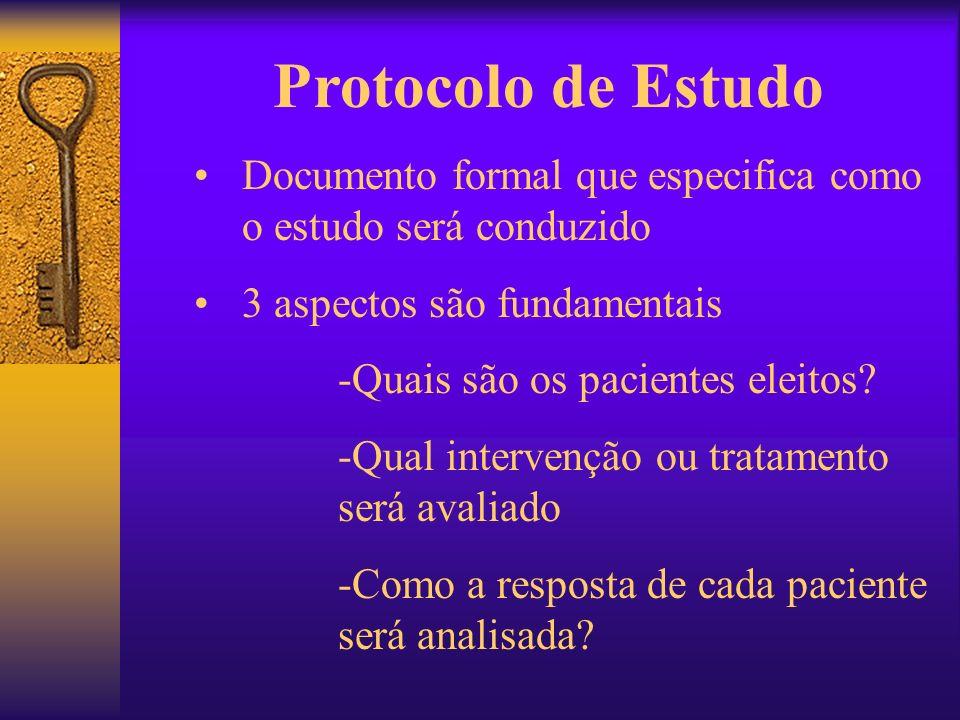 Protocolo de Estudo Documento formal que especifica como o estudo será conduzido. 3 aspectos são fundamentais.