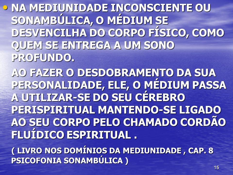 NA MEDIUNIDADE INCONSCIENTE OU SONAMBÚLICA, O MÉDIUM SE DESVENCILHA DO CORPO FÍSICO, COMO QUEM SE ENTREGA A UM SONO PROFUNDO.
